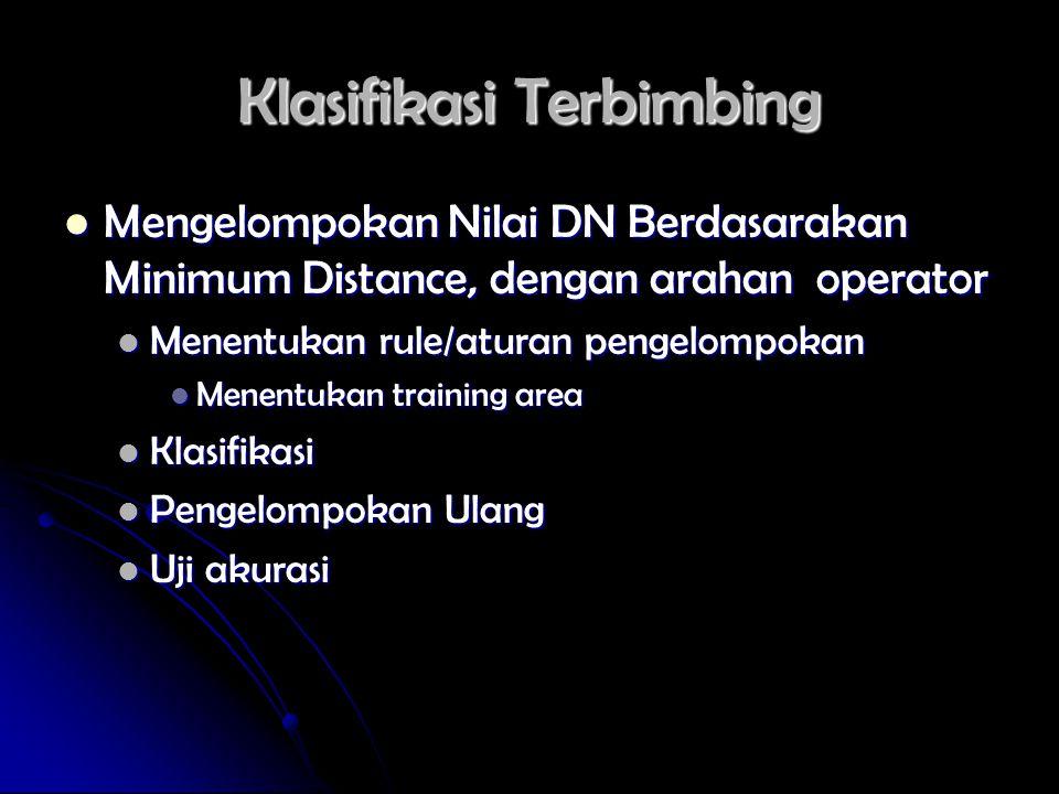 Klasifikasi Terbimbing Mengelompokan Nilai DN Berdasarakan Minimum Distance, dengan arahan operator Mengelompokan Nilai DN Berdasarakan Minimum Distan