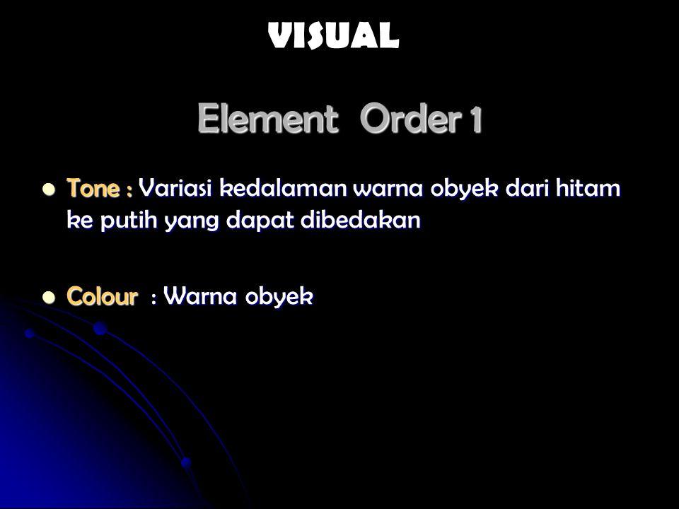 Element Order 1 Tone : Variasi kedalaman warna obyek dari hitam ke putih yang dapat dibedakan Tone : Variasi kedalaman warna obyek dari hitam ke putih