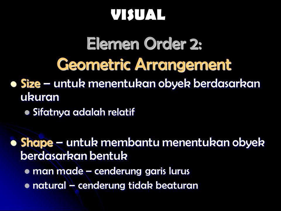 Elements Orde 2 Spatial Arrangement Texture – frekuensi perubahan dan susunan dari tone Texture – frekuensi perubahan dan susunan dari tone Pengamatan visual kehalusan/kekasaran (smoothness or roughness) Pengamatan visual kehalusan/kekasaran (smoothness or roughness) Misal Air : biasanya halus, Alang-alang : medium texture, and Hutan alam dataran rendah: kasar Misal Air : biasanya halus, Alang-alang : medium texture, and Hutan alam dataran rendah: kasar Selalu ada pengecualian Selalu ada pengecualian Pattern - arrangement spasial dari objects Pattern - arrangement spasial dari objects Linear untuk jalan, sungai dll Linear untuk jalan, sungai dll VISUAL