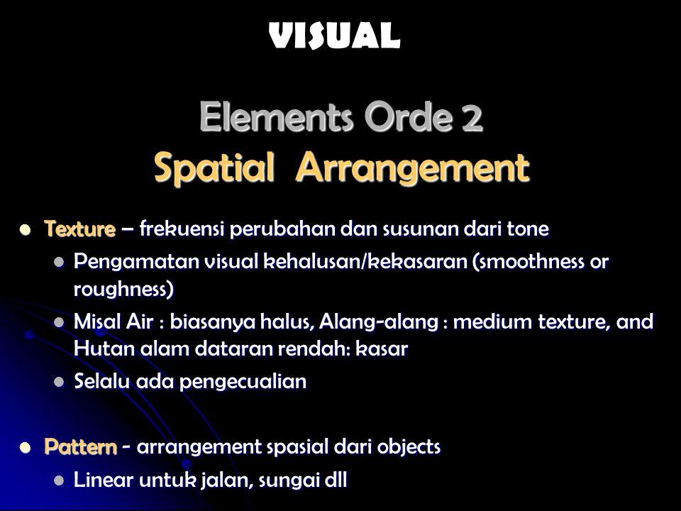 Elements Orde 2 Spatial Arrangement Texture – frekuensi perubahan dan susunan dari tone Texture – frekuensi perubahan dan susunan dari tone Pengamatan