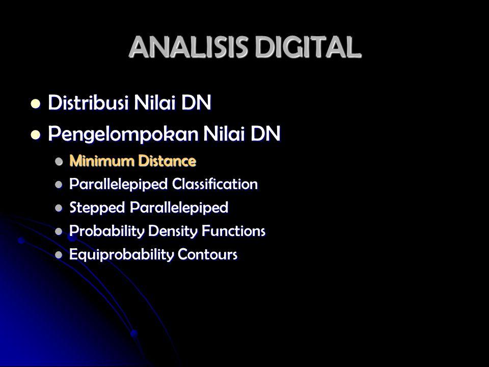 ANALISIS DIGITAL Distribusi Nilai DN Distribusi Nilai DN Pengelompokan Nilai DN Pengelompokan Nilai DN Minimum Distance Minimum Distance Parallelepipe