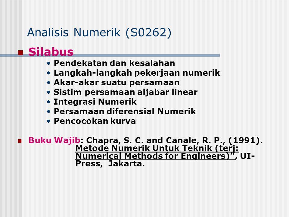 Analisis Numerik (S0262) Silabus Pendekatan dan kesalahan Langkah-langkah pekerjaan numerik Akar-akar suatu persamaan Sistim persamaan aljabar linear