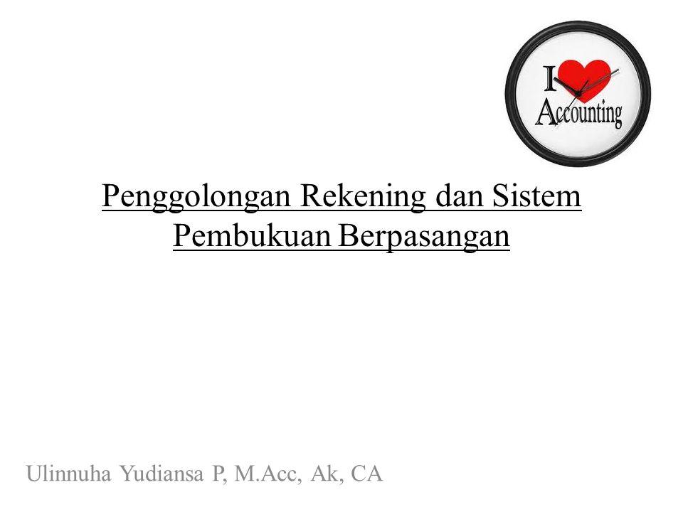 Penggolongan Rekening dan Sistem Pembukuan Berpasangan Ulinnuha Yudiansa P, M.Acc, Ak, CA
