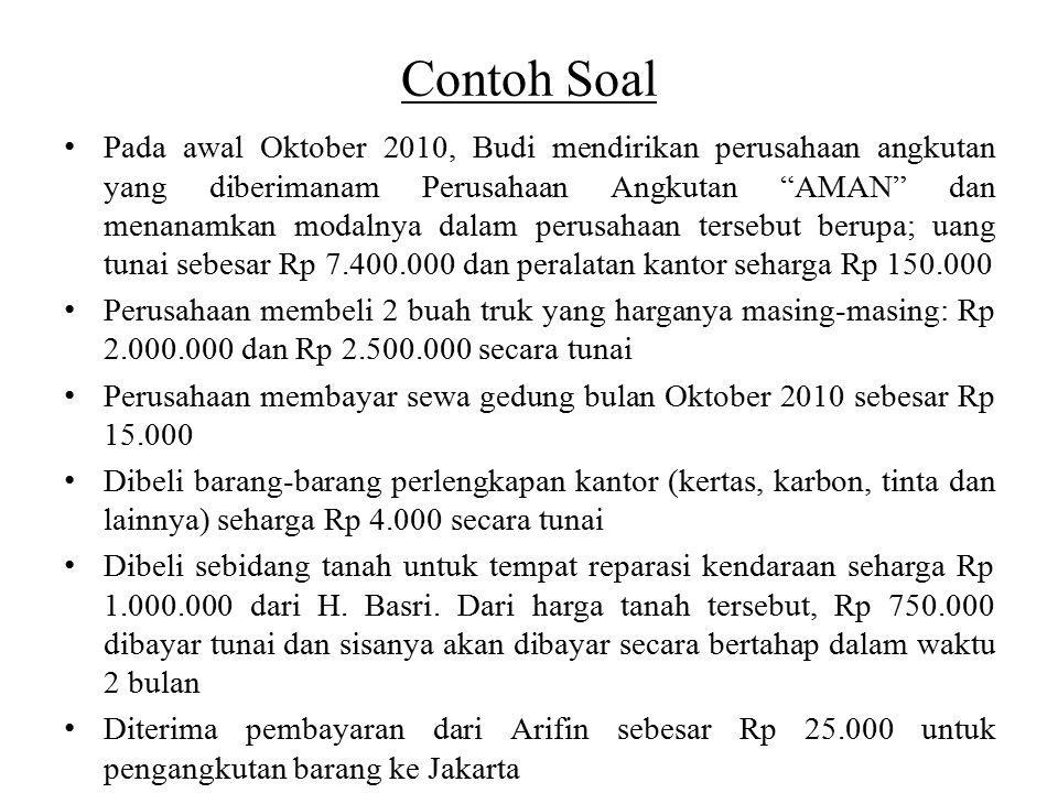 """Contoh Soal Pada awal Oktober 2010, Budi mendirikan perusahaan angkutan yang diberimanam Perusahaan Angkutan """"AMAN"""" dan menanamkan modalnya dalam peru"""