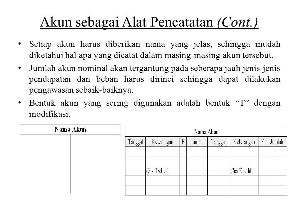 Akun sebagai Alat Pencatatan (Cont.) Setiap akun harus diberikan nama yang jelas, sehingga mudah diketahui hal apa yang dicatat dalam masing-masing akun tersebut.