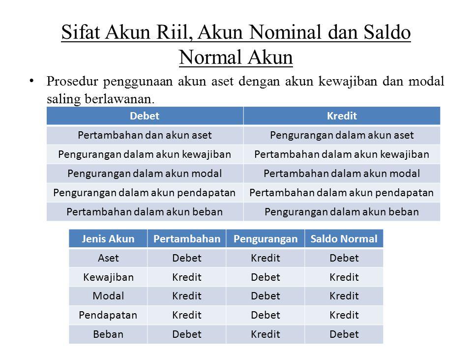 Sifat Akun Riil, Akun Nominal dan Saldo Normal Akun Prosedur penggunaan akun aset dengan akun kewajiban dan modal saling berlawanan. DebetKredit Perta