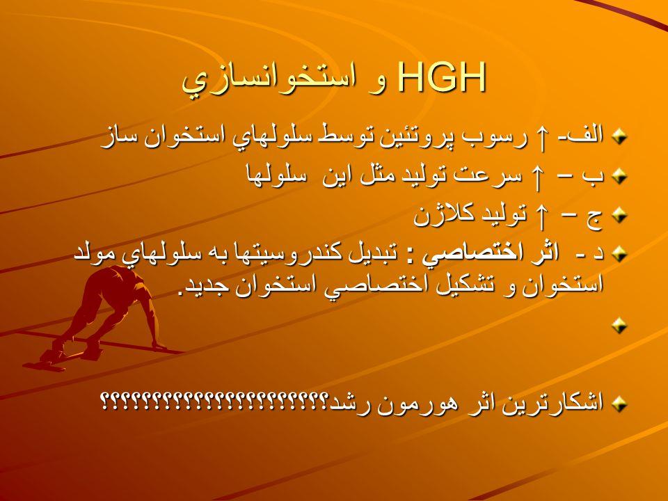 HGH و استخوانسازي الف - ↑ رسوب پروتئين توسط سلولهاي استخوان ساز ب – ↑ سرعت توليد مثل اين سلولها ج – ↑ توليد كلاژن د - اثر اختصاصي : تبديل كندروسيتها ب
