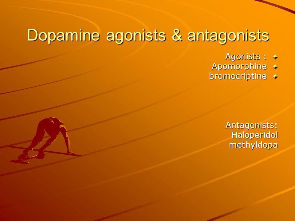 Dopamine agonists & antagonists Agonists : ApomorphinebromocriptineAntagonists:Haloperidolmethyldopa