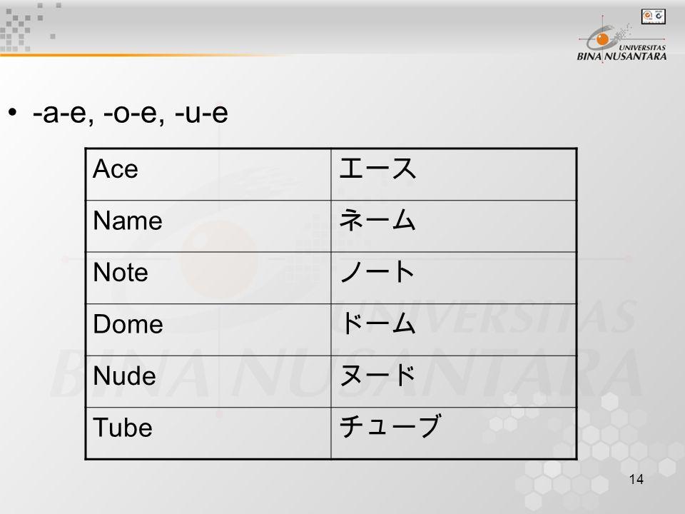 14 -a-e, -o-e, -u-e Ace エース Name ネーム Note ノート Dome ドーム Nude ヌード Tube チューブ