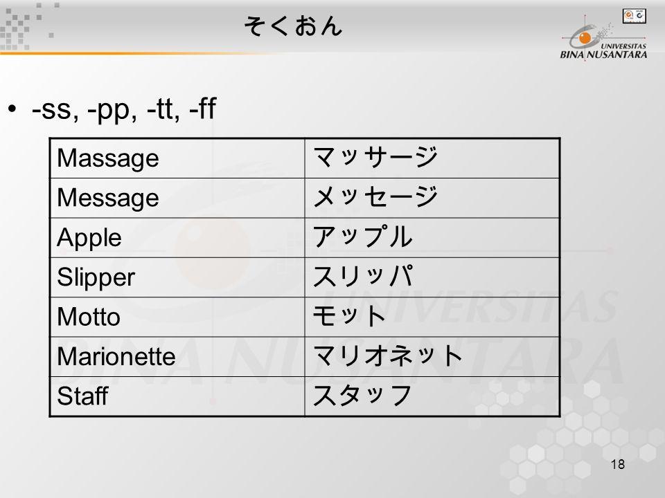 18 そくおん -ss, -pp, -tt, -ff Massage マッサージ Message メッセージ Apple アップル Slipper スリッパ Motto モット Marionette マリオネット Staff スタッフ