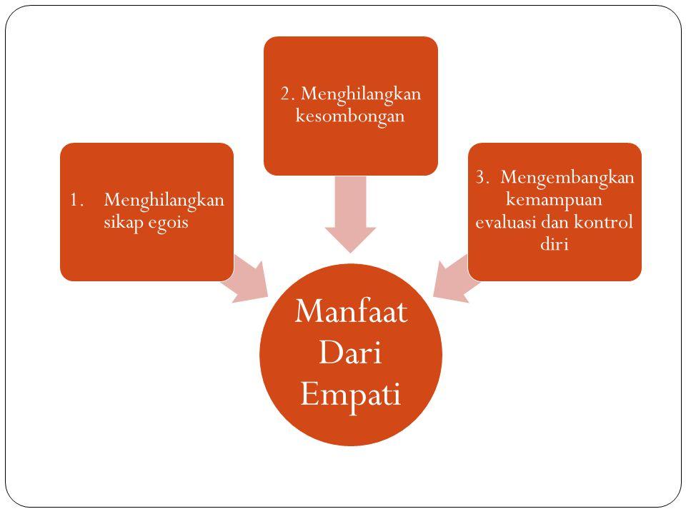 Manfaat Dari Empati 1. Menghilangkan sikap egois 2. Menghilangkan kesombongan 3. Mengembangkan kemampuan evaluasi dan kontrol diri