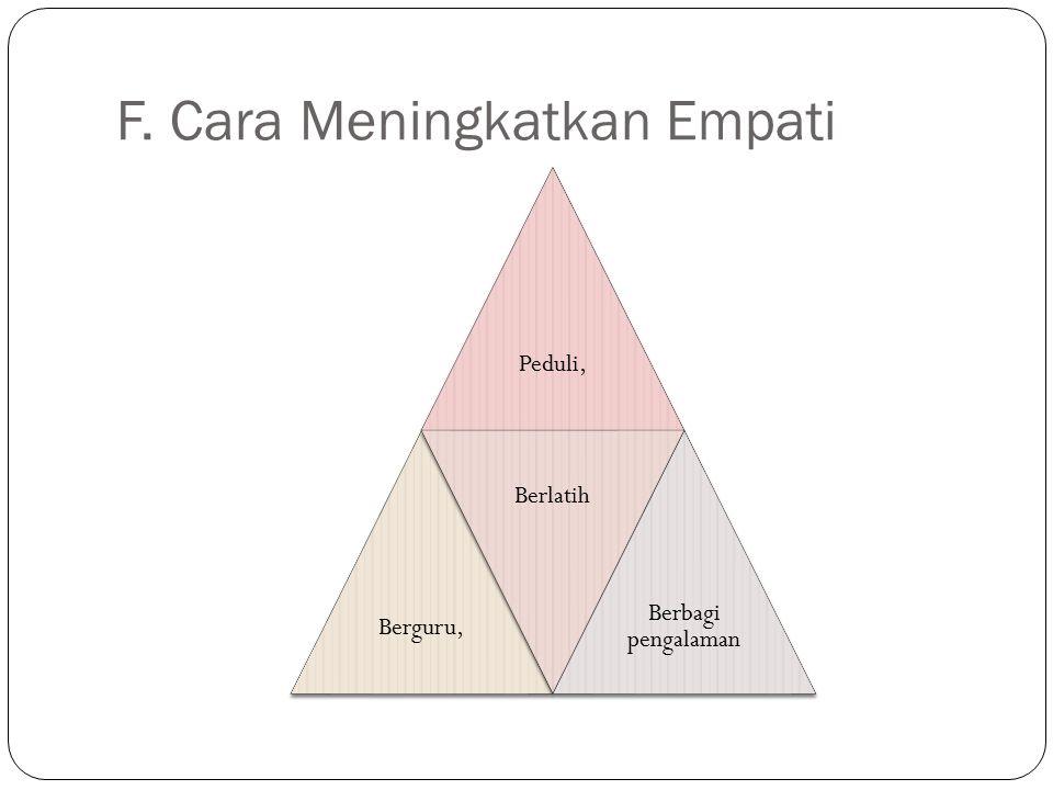 F. Cara Meningkatkan Empati Peduli,Berguru, Berlatih Berbagi pengalaman