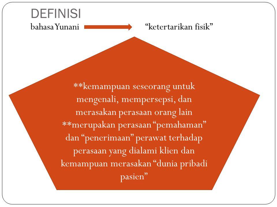 """DEFINISI bahasa Yunani """"ketertarikan fisik"""" **kemampuan seseorang untuk mengenali, mempersepsi, dan merasakan perasaan orang lain **merupakan perasaan"""