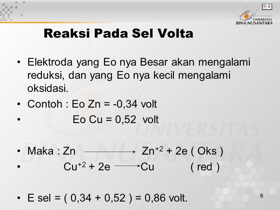 6 Reaksi Pada Sel Volta Elektroda yang Eo nya Besar akan mengalami reduksi, dan yang Eo nya kecil mengalami oksidasi.