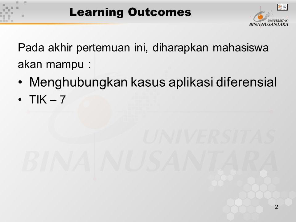 2 Learning Outcomes Pada akhir pertemuan ini, diharapkan mahasiswa akan mampu : Menghubungkan kasus aplikasi diferensial TIK – 7
