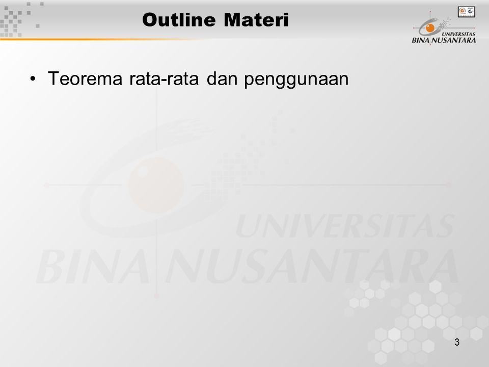 3 Outline Materi Teorema rata-rata dan penggunaan