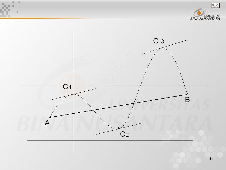 6 Teorema : jika suatu fungsi pada titik a dan b terdiferensiasi maka : Contoh 1 : Tentukan titik C untuk teorema rata-rata pada antara (1,4)