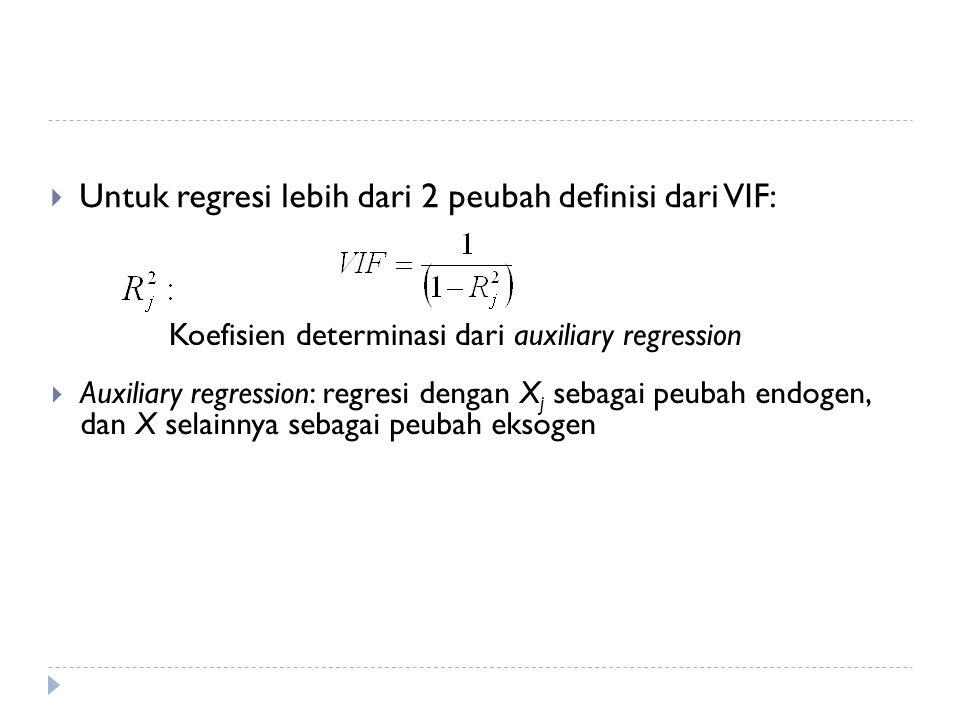  Untuk regresi lebih dari 2 peubah definisi dari VIF: Koefisien determinasi dari auxiliary regression  Auxiliary regression: regresi dengan X j sebagai peubah endogen, dan X selainnya sebagai peubah eksogen