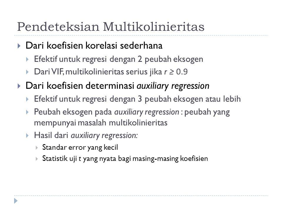 Pendeteksian Multikolinieritas  Dari koefisien korelasi sederhana  Efektif untuk regresi dengan 2 peubah eksogen  Dari VIF, multikolinieritas serius jika r ≥ 0.9  Dari koefisien determinasi auxiliary regression  Efektif untuk regresi dengan 3 peubah eksogen atau lebih  Peubah eksogen pada auxiliary regression : peubah yang mempunyai masalah multikolinieritas  Hasil dari auxiliary regression:  Standar error yang kecil  Statistik uji t yang nyata bagi masing-masing koefisien
