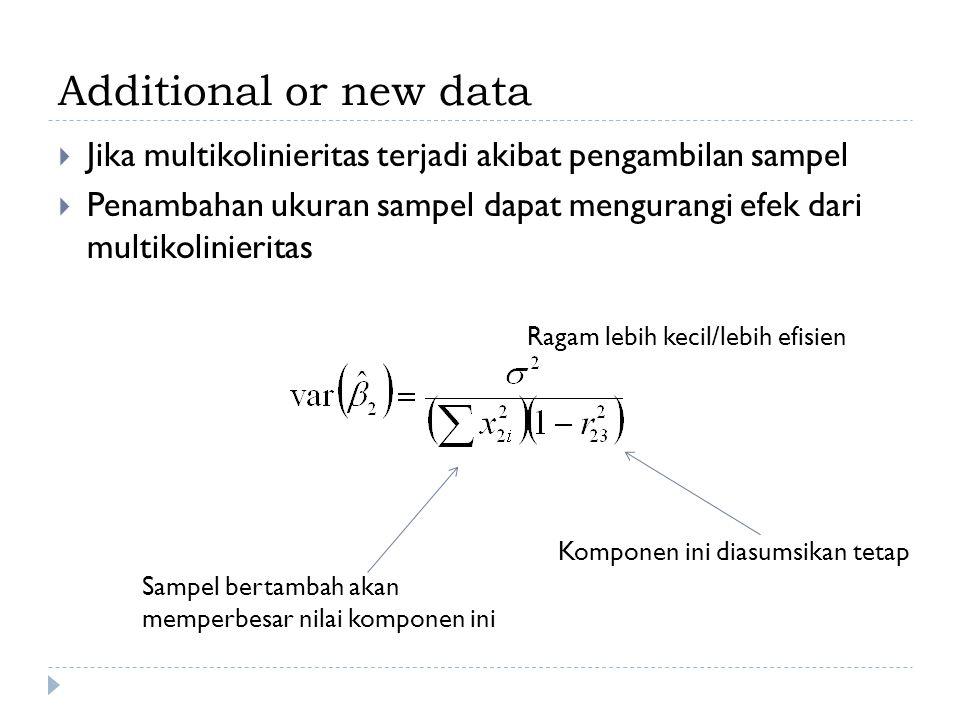 Additional or new data  Jika multikolinieritas terjadi akibat pengambilan sampel  Penambahan ukuran sampel dapat mengurangi efek dari multikolinieritas Sampel bertambah akan memperbesar nilai komponen ini Komponen ini diasumsikan tetap Ragam lebih kecil/lebih efisien