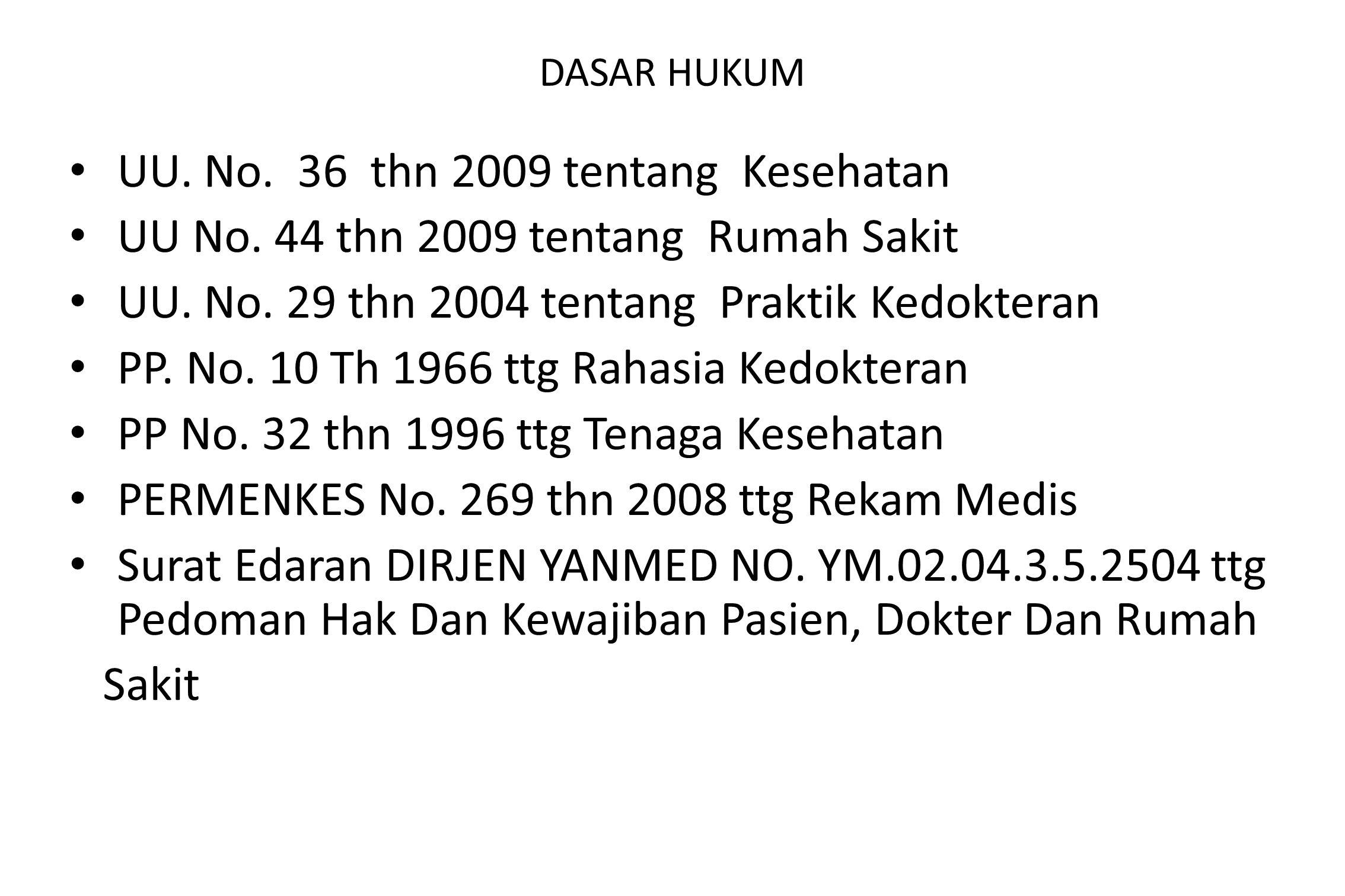 DASAR HUKUM UU. No. 36 thn 2009 tentang Kesehatan UU No. 44 thn 2009 tentang Rumah Sakit UU. No. 29 thn 2004 tentang Praktik Kedokteran PP. No. 10 Th