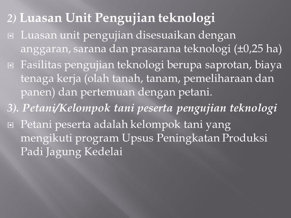 2) Luasan Unit Pengujian teknologi  Luasan unit pengujian disesuaikan dengan anggaran, sarana dan prasarana teknologi (±0,25 ha)  Fasilitas pengujia