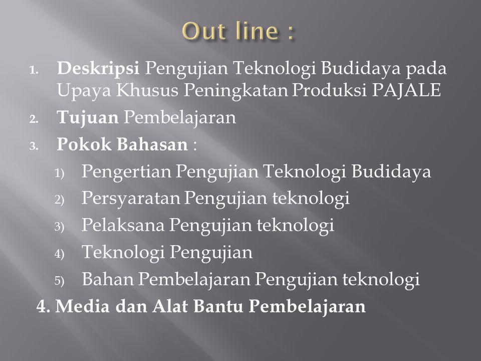 1. Deskripsi Pengujian Teknologi Budidaya pada Upaya Khusus Peningkatan Produksi PAJALE 2. Tujuan Pembelajaran 3. Pokok Bahasan : 1) Pengertian Penguj