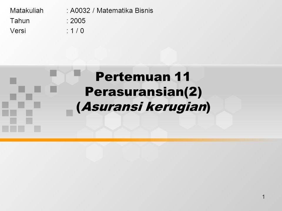1 Pertemuan 11 Perasuransian(2) (Asuransi kerugian) Matakuliah: A0032 / Matematika Bisnis Tahun: 2005 Versi: 1 / 0