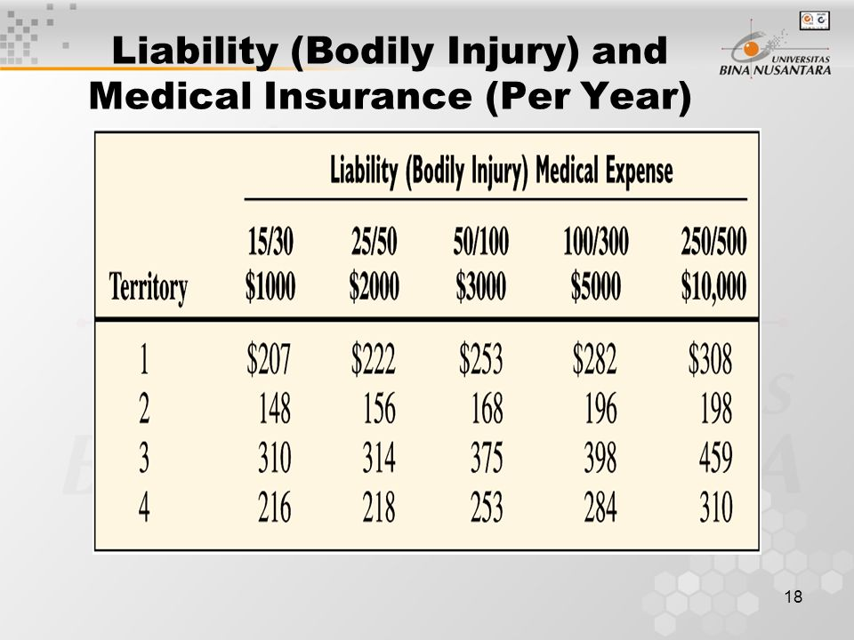 18 Liability (Bodily Injury) and Medical Insurance (Per Year)