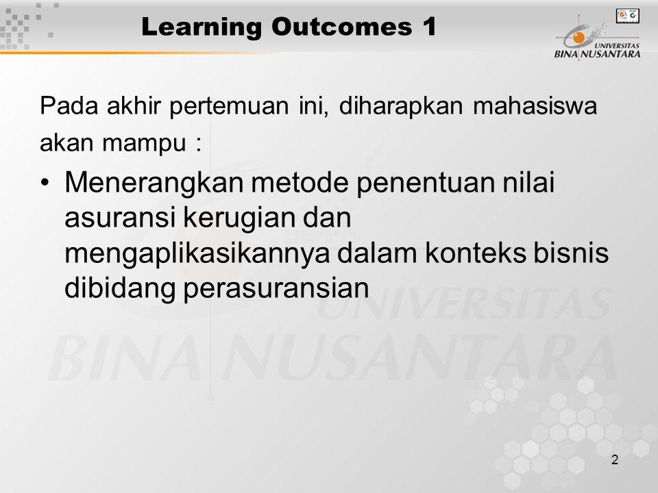 2 Learning Outcomes 1 Pada akhir pertemuan ini, diharapkan mahasiswa akan mampu : Menerangkan metode penentuan nilai asuransi kerugian dan mengaplikas