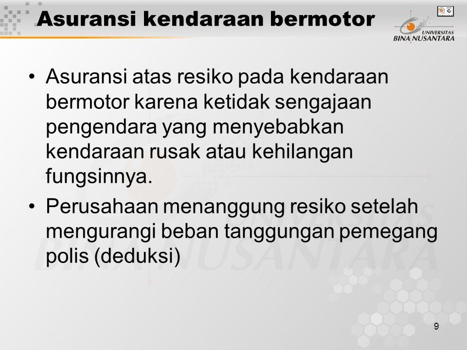 9 Asuransi kendaraan bermotor Asuransi atas resiko pada kendaraan bermotor karena ketidak sengajaan pengendara yang menyebabkan kendaraan rusak atau k