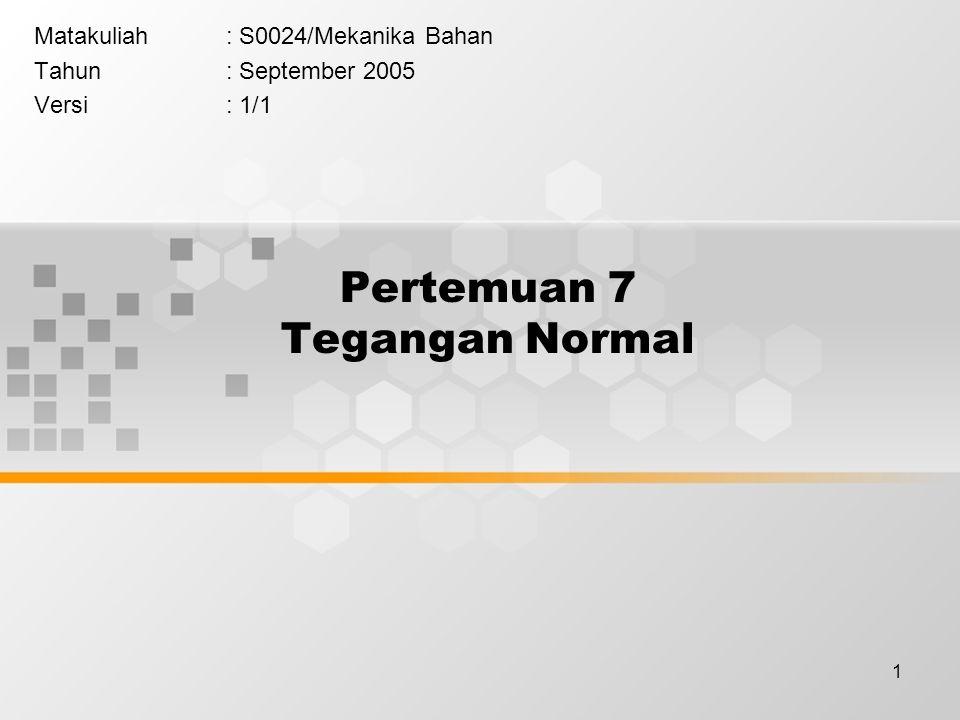 1 Pertemuan 7 Tegangan Normal Matakuliah: S0024/Mekanika Bahan Tahun: September 2005 Versi: 1/1