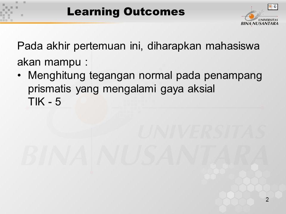 2 Learning Outcomes Pada akhir pertemuan ini, diharapkan mahasiswa akan mampu : Menghitung tegangan normal pada penampang prismatis yang mengalami gay
