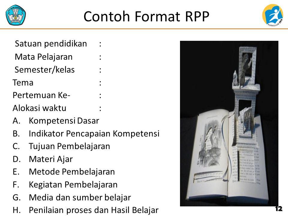 Contoh Format RPP Satuan pendidikan: Mata Pelajaran: Semester/kelas: Tema: Pertemuan Ke-: Alokasi waktu: A.Kompetensi Dasar B.Indikator Pencapaian Kom