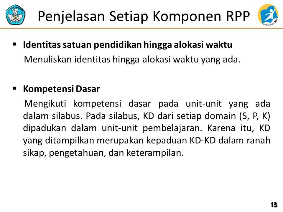 Penjelasan Setiap Komponen RPP  Identitas satuan pendidikan hingga alokasi waktu Menuliskan identitas hingga alokasi waktu yang ada.  Kompetensi Das