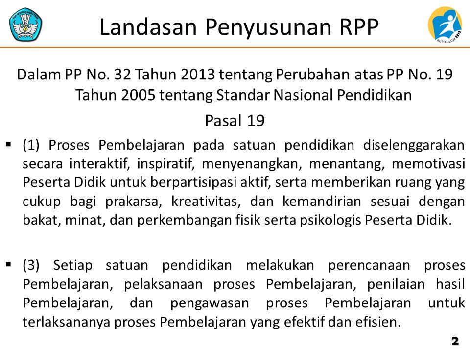 Landasan Penyusunan RPP Dalam PP No. 32 Tahun 2013 tentang Perubahan atas PP No. 19 Tahun 2005 tentang Standar Nasional Pendidikan Pasal 19  (1) Pros
