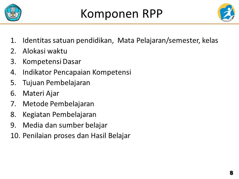 Komponen RPP 1.Identitas satuan pendidikan, Mata Pelajaran/semester, kelas 2.Alokasi waktu 3.Kompetensi Dasar 4.Indikator Pencapaian Kompetensi 5.Tuju