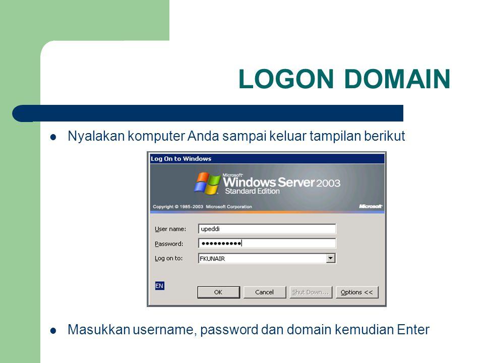 LOGON DOMAIN Nyalakan komputer Anda sampai keluar tampilan berikut Masukkan username, password dan domain kemudian Enter