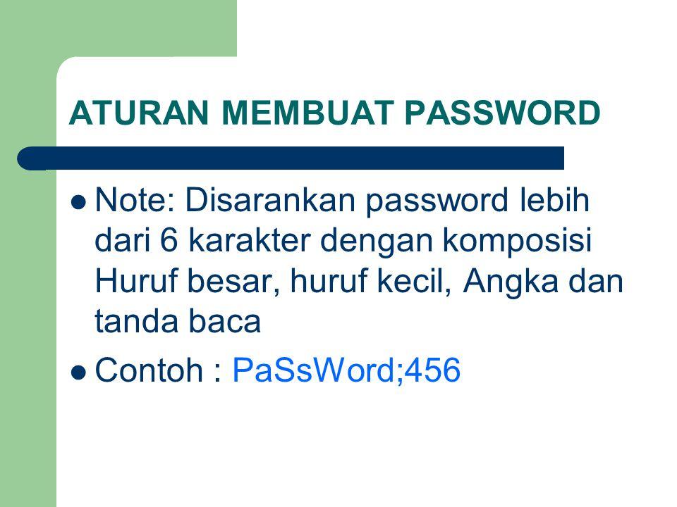 ATURAN MEMBUAT PASSWORD Note: Disarankan password lebih dari 6 karakter dengan komposisi Huruf besar, huruf kecil, Angka dan tanda baca Contoh : PaSsW