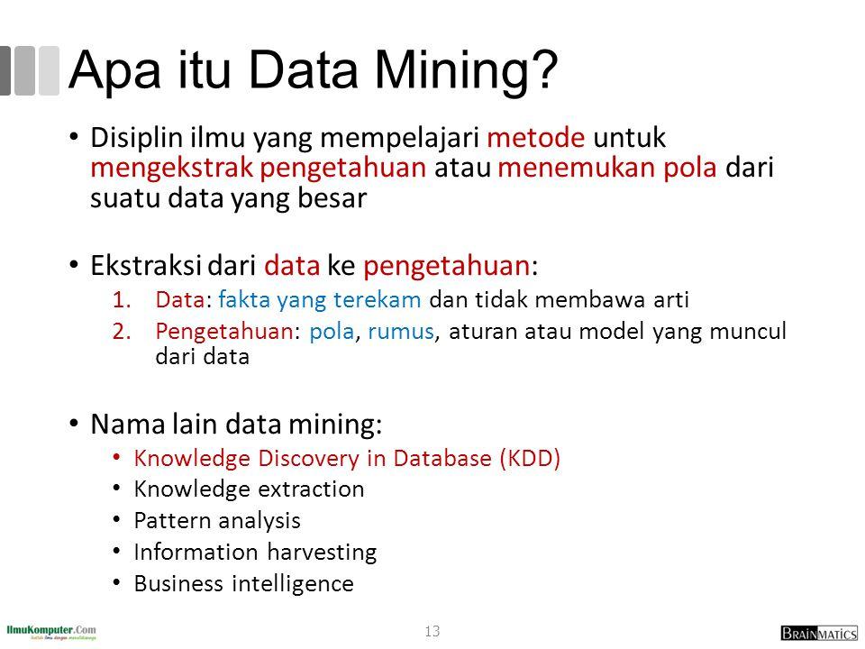 Apa itu Data Mining? Disiplin ilmu yang mempelajari metode untuk mengekstrak pengetahuan atau menemukan pola dari suatu data yang besar Ekstraksi dari