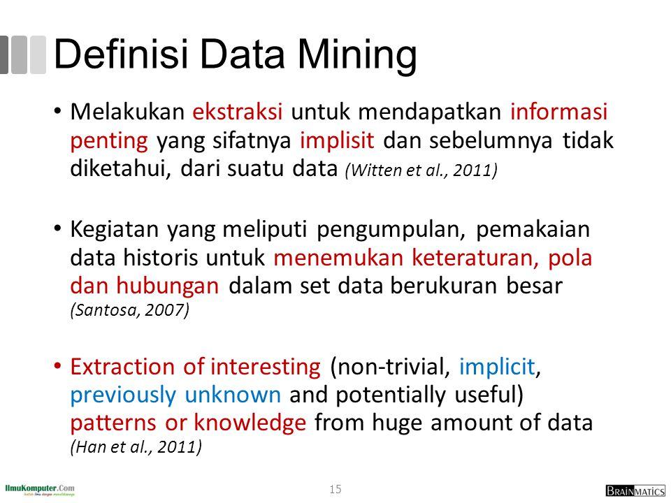 Definisi Data Mining Melakukan ekstraksi untuk mendapatkan informasi penting yang sifatnya implisit dan sebelumnya tidak diketahui, dari suatu data (W