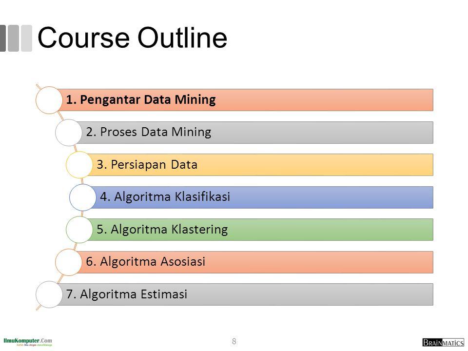 Course Outline 1. Pengantar Data Mining 2. Proses Data Mining 3. Persiapan Data 4. Algoritma Klasifikasi 5. Algoritma Klastering 6. Algoritma Asosiasi