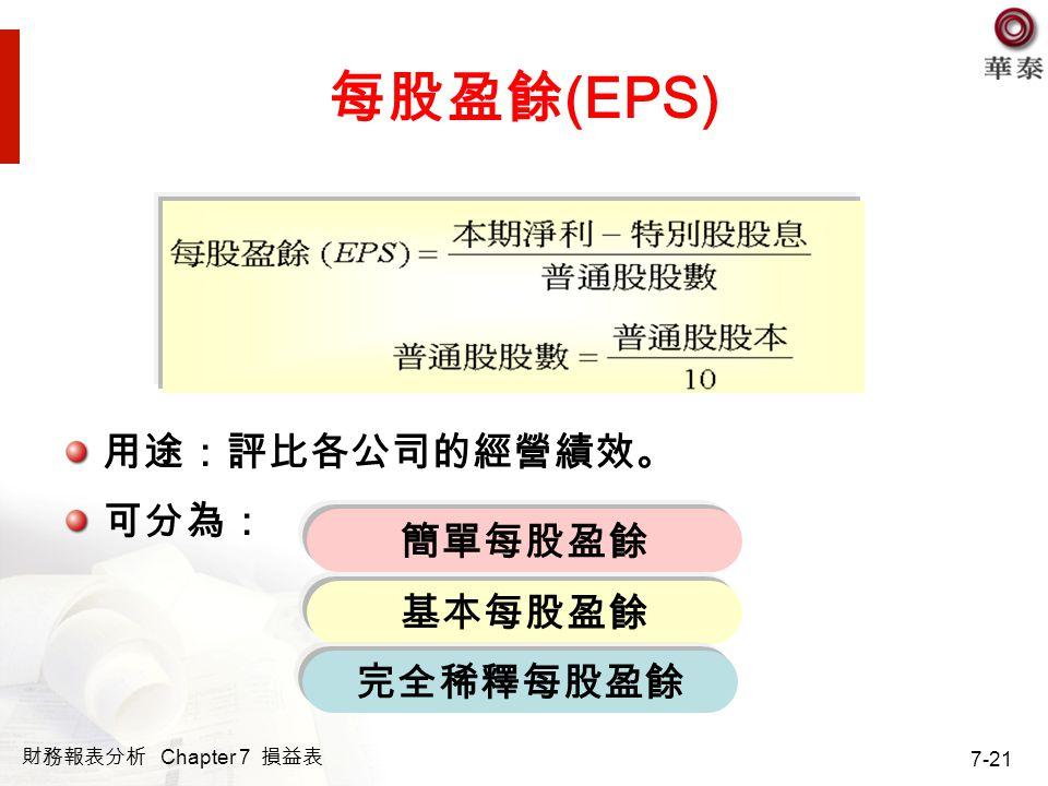 財務報表分析 Chapter 7 損益表 7-21 每股盈餘 (EPS) 用途:評比各公司的經營績效。 可分為: 簡單每股盈餘 基本每股盈餘 完全稀釋每股盈餘