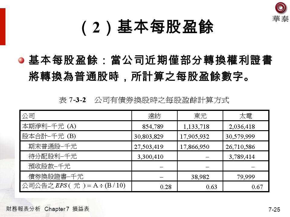 財務報表分析 Chapter 7 損益表 7-25 ( 2 )基本每股盈餘 基本每股盈餘:當公司近期僅部分轉換權利證書 將轉換為普通股時,所計算之每股盈餘數字。