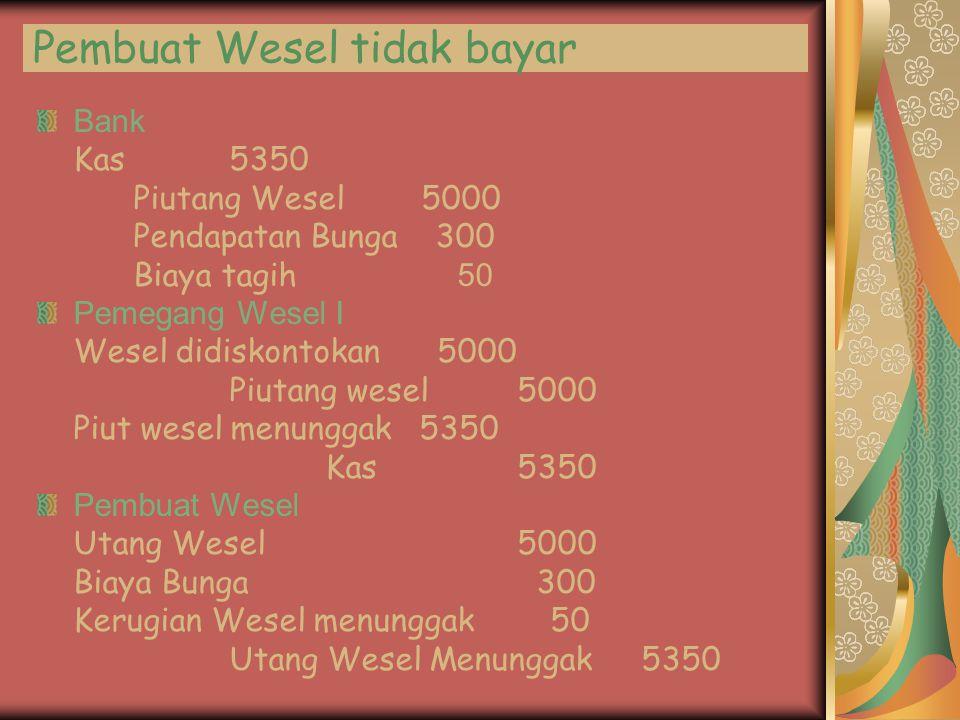 Pembuat Wesel tidak bayar Bank Kas5350 Piutang Wesel5000 Pendapatan Bunga 300 Biaya tagih 5 0 Pemegang Wesel I Wesel didiskontokan 5000 Piutang wesel5