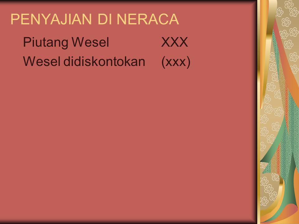 PENYAJIAN DI NERACA Piutang WeselXXX Wesel didiskontokan(xxx)