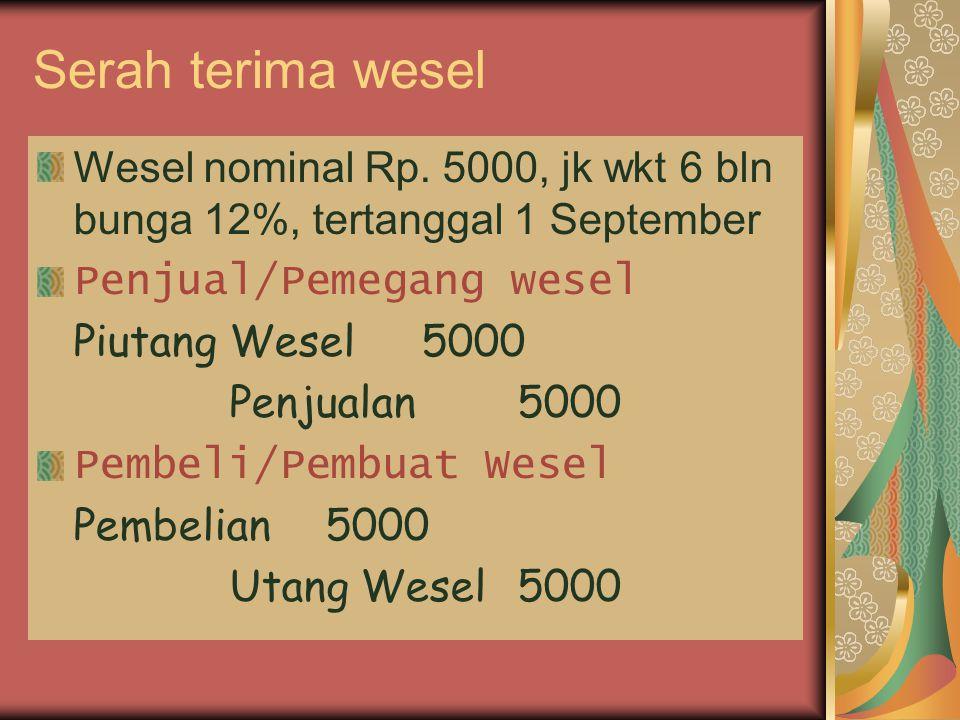 Serah terima wesel Wesel nominal Rp. 5000, jk wkt 6 bln bunga 12%, tertanggal 1 September Penjual/Pemegang wesel Piutang Wesel5000 Penjualan5000 Pembe