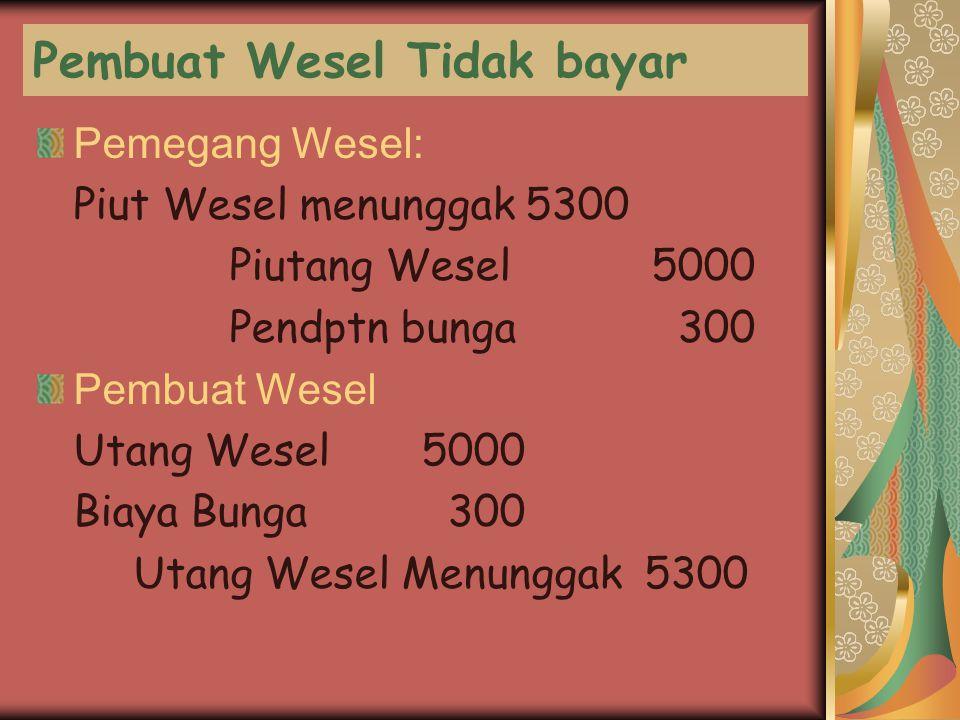 Pembuat Wesel Tidak bayar Pemegang Wesel: Piut Wesel menunggak 5300 Piutang Wesel 5000 Pendptn bunga 300 Pembuat Wesel Utang Wesel5000 Biaya Bunga 300