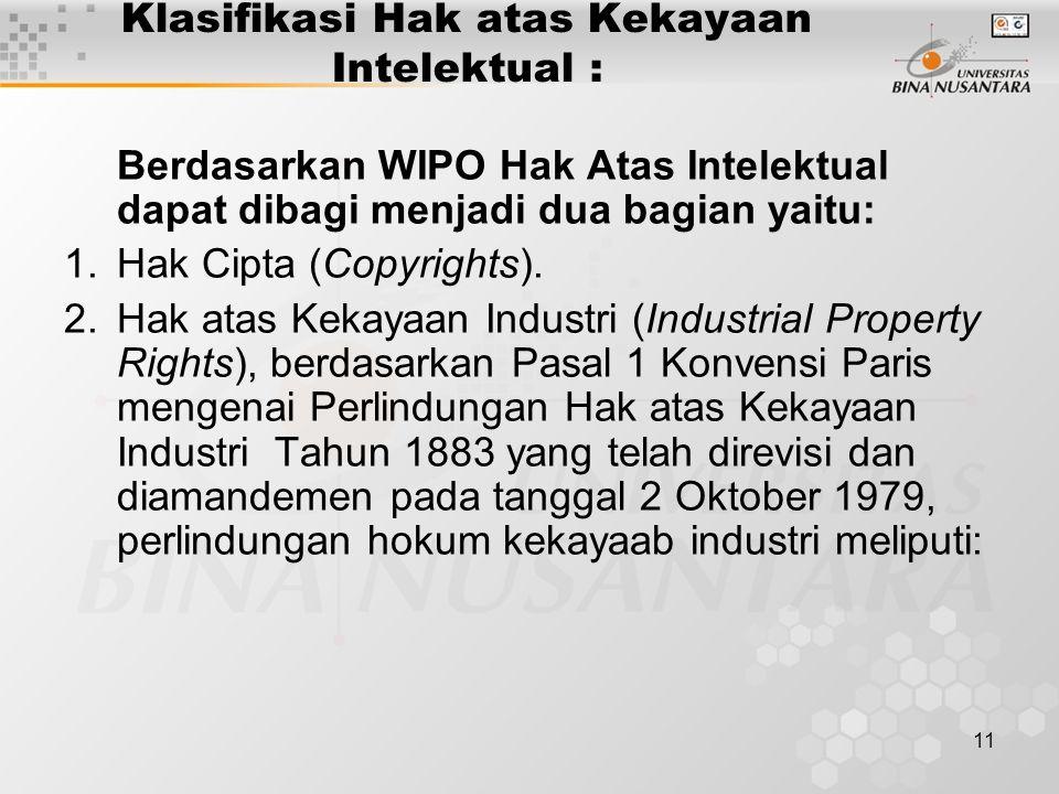 11 Klasifikasi Hak atas Kekayaan Intelektual : Berdasarkan WIPO Hak Atas Intelektual dapat dibagi menjadi dua bagian yaitu: 1.Hak Cipta (Copyrights).