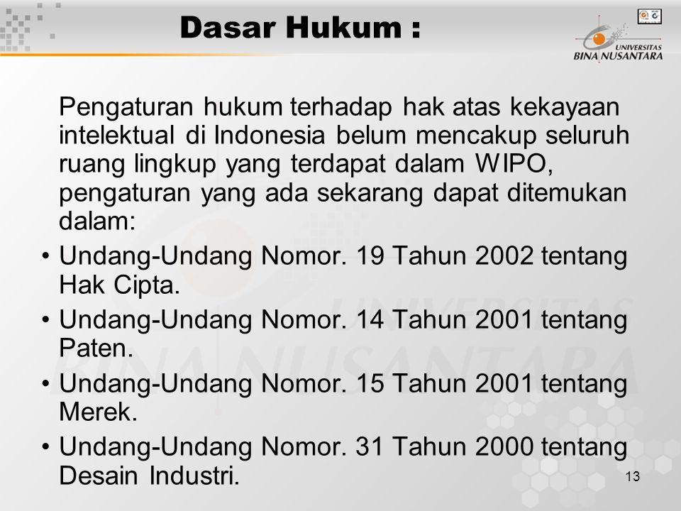13 Dasar Hukum : Pengaturan hukum terhadap hak atas kekayaan intelektual di Indonesia belum mencakup seluruh ruang lingkup yang terdapat dalam WIPO, pengaturan yang ada sekarang dapat ditemukan dalam: Undang-Undang Nomor.